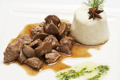 Meat stew with side dish Royalty Free Stock Image