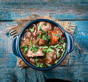 Meat stew with vegetables and herbs Royalty Free Stock Photography