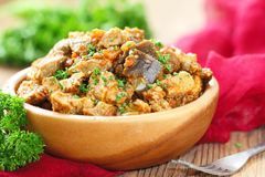 Meat stew with vegetables and spices Royalty Free Stock Photo