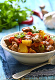 Meat stewed with vegetable in spicy tomato sauce. Royalty Free Stock Images