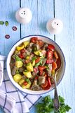 Meat stewed with vegetables.Top view. Stock Images