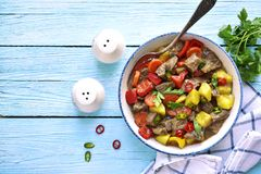 Meat stewed with vegetables.Top view. Royalty Free Stock Images