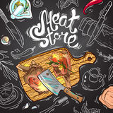 Meat store. Beautiful hand drawn sketch illustration  meat  on the chalkboard  top view Royalty Free Stock Photography