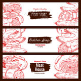 Meat, butchery products, sausages banners sketch. Meat store or butcher shop products. Butchery house banners set of sketch salami, pepperoni and kielbasa wurst Stock Photos