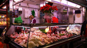 Meat store at La Boqueria market Royalty Free Stock Photos