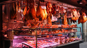 Meat store at La Boqueria market Royalty Free Stock Image
