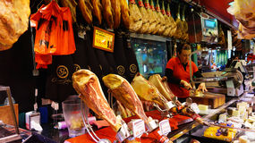 Meat store at La Boqueria market Royalty Free Stock Images