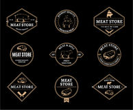 Meat Store Labels and Design Elements Stock Image
