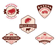 Meat Store Labels and Design Elements Stock Photo