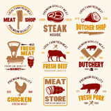 Meat Store Retro Style Emblems. With scales and knives farm products livestock and poultry  vector illustration Stock Photo