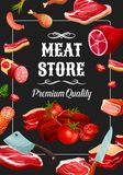 Meat store sausages, butchery delicatessen. Meat store, premium quality meaty products and sausages. Vector salami, pepperoni or cervelat with beef jamon and stock illustration