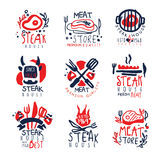 Meat store, steak house premium quality logo template set, colorful hand drawn vector Illustrations. On a white background Royalty Free Stock Photo