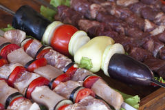 The meat strung on a skewer Royalty Free Stock Photos