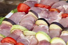 The meat strung on a skewer Stock Images