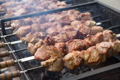 Meat strung on skewers when cooking kebabs Stock Image