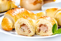 Meat stuffed crescent roll Royalty Free Stock Photos