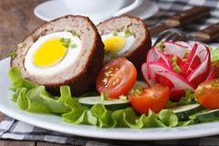 Meat stuffed with egg and vegetable salad Royalty Free Stock Image