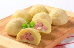 Meat stuffed potato dumplings Stock Image