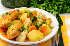 Meat stuffed rolls with vegetables and tomato sauce. Royalty Free Stock Image