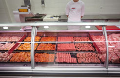 Meat supermarket. Close up of various meat in a supermarket Royalty Free Stock Image
