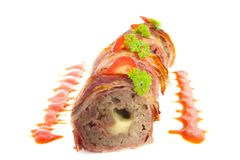 Meat sushi. Sushi roll with meat cheese and bacon Stock Photography