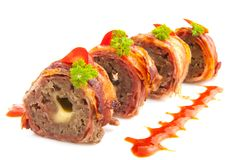 Meat sushi roll. Sushi roll with meat cheese and bacon Stock Images