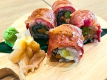 Meat sushi rolls with beef. Studio Photo Royalty Free Stock Images