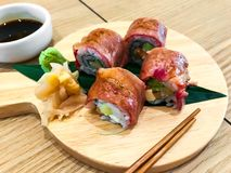 Meat sushi rolls with beef. Studio Photo Stock Images