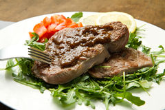 Meat table : roast beef fillet with vegetables Stock Image