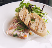 Meat terrine with toast Stock Images