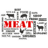 meat Textuppsättning av slaktaren stock illustrationer