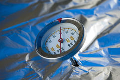 Meat Thermometer. In a barbecue grille stock image