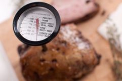 Meat thermometer in the meat Royalty Free Stock Image