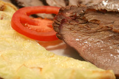 Meat tomato and potato Royalty Free Stock Images