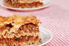 Meat and tomato sauce lasagna Royalty Free Stock Images