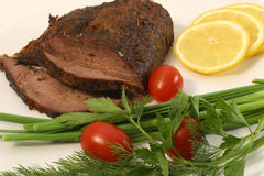 Meat and tomatoes Royalty Free Stock Photos