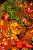 Meat under a red sauce Royalty Free Stock Images