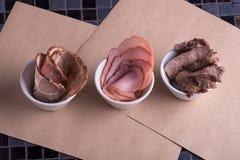 Meat  varieties ingredients. Restaurant menu Royalty Free Stock Photo