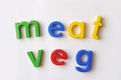 Meat and veg. Words spelled out with fridge magnets Royalty Free Stock Image