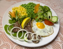 Meat and vegetabkes. Appetizer, ate, beef, broil, cabbage, carbohydrates, carrot, collation, colorful, corn Stock Photos