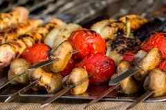 Meat and vegetable appetite barbecue. Cooked in restaurant, unhealthy food Stock Photo