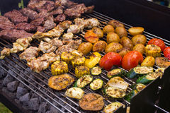 Meat and vegetable barbeque Royalty Free Stock Photo