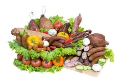 Meat and vegetable display Stock Photo
