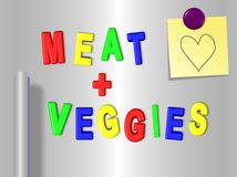 Meat and vegetable fridge magnets Stock Photos