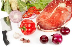 Meat and vegetable ingredients Royalty Free Stock Photos