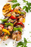 Meat and vegetable kebabs Stock Photography