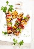 Meat and vegetable kebabs Stock Photos