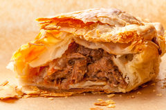 Meat and Vegetable Pasty Closeup Open Royalty Free Stock Photos