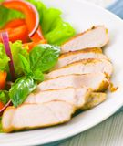 Meat with vegetable salad Royalty Free Stock Photos