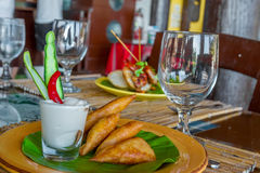 Meat and vegetable samosas in a small restaurant Royalty Free Stock Image